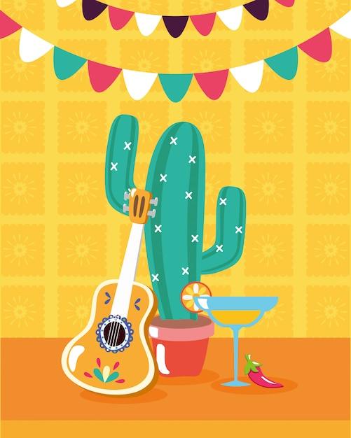 Éléments mexicains pour viva mexico Vecteur gratuit