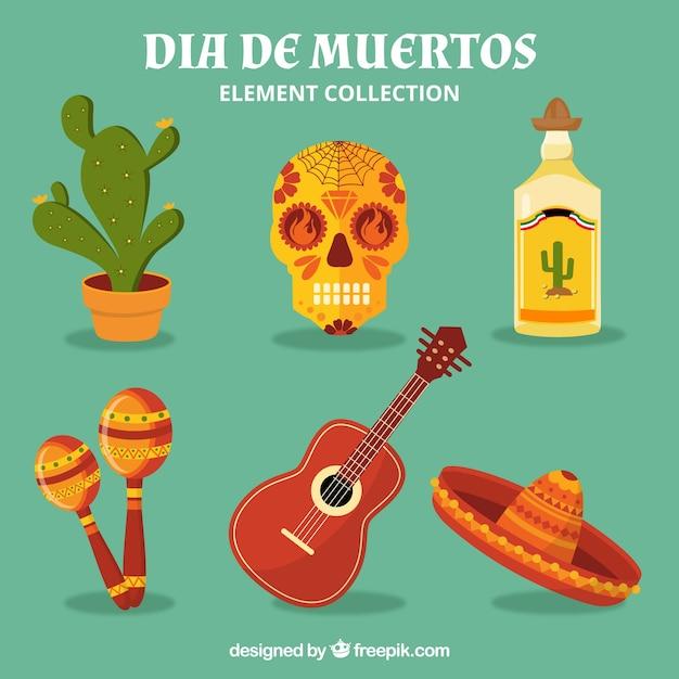 Eléments mexicains avec un style coloré Vecteur gratuit