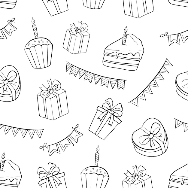 Éléments De Modèle Sans Couture D'anniversaire Noir Et Blanc Avec Doodle Ou Style Dessiné à La Main Vecteur Premium