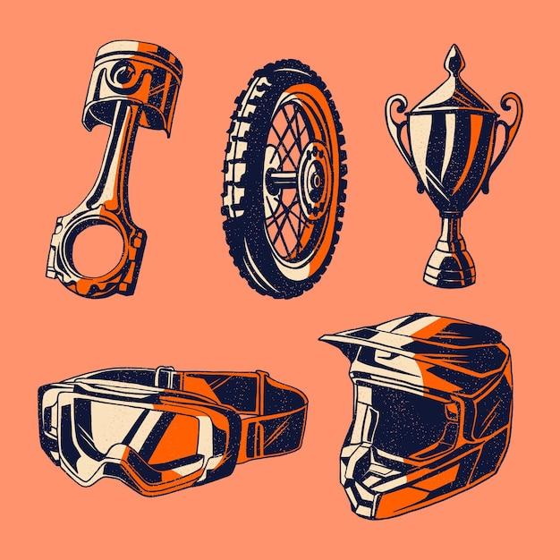 Éléments De Motocross Design Rétro Vecteur gratuit