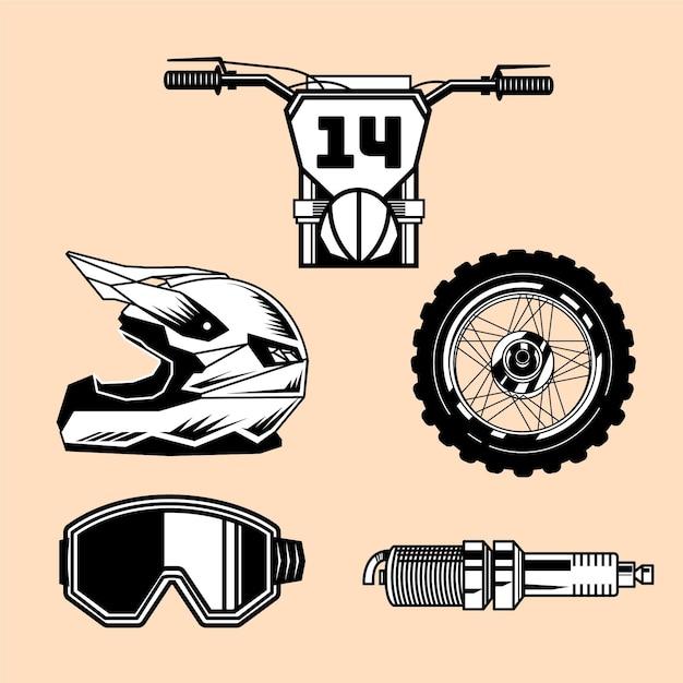 Éléments De Motocross Rétro Vecteur Premium