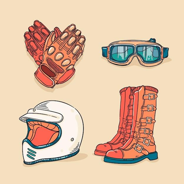 Éléments De Motocross De Style Rétro Vecteur gratuit