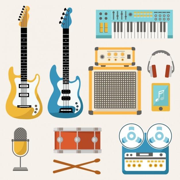 Éléments de musique de couleur Vecteur gratuit
