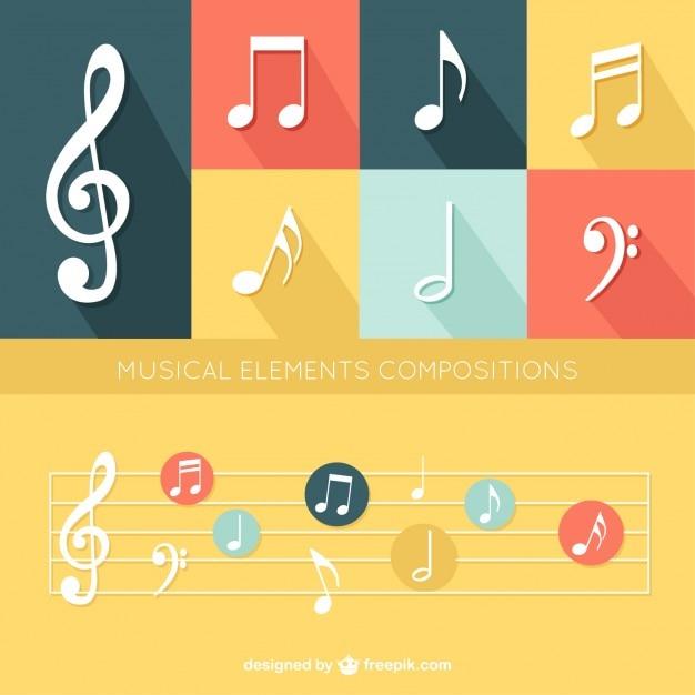 Éléments de musique forfaitaire prévu Vecteur gratuit