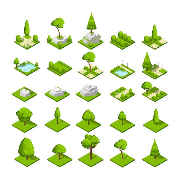 Éléments de nature 3d isométriques. arbres et plantes du parc forestier et urbain. carte graphique Vecteur Premium