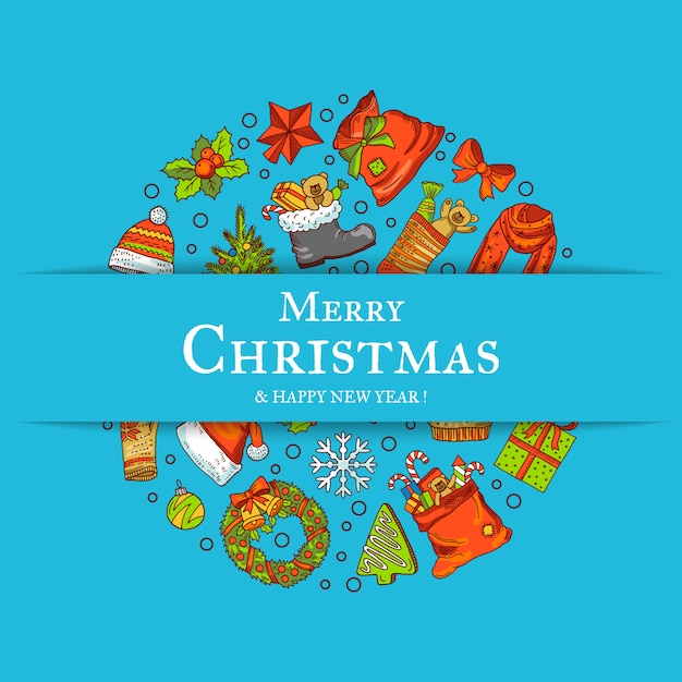 Éléments De Noël Colorés Dessinés à La Main Vecteur Premium