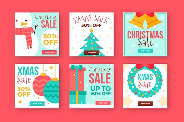 Éléments De Noël Festifs Post Collection Instagram Vecteur gratuit