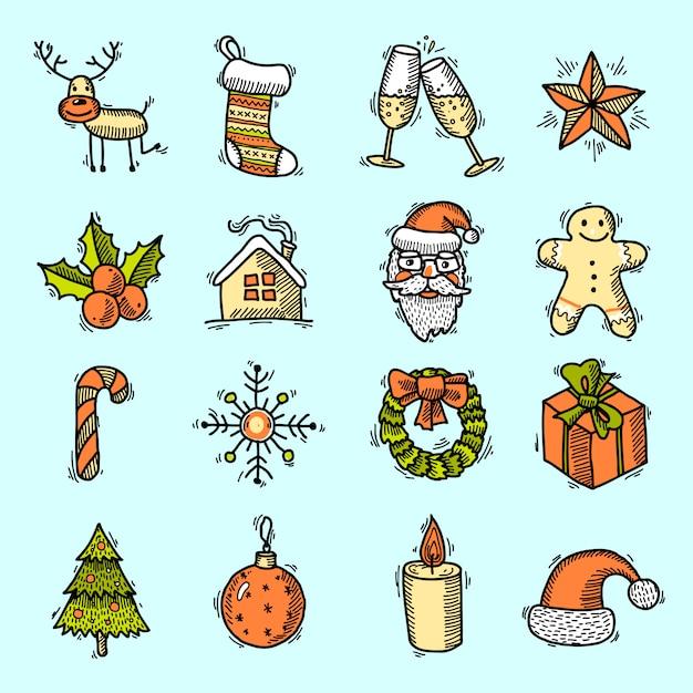 Éléments De Noël Mis En Couleur Vecteur gratuit