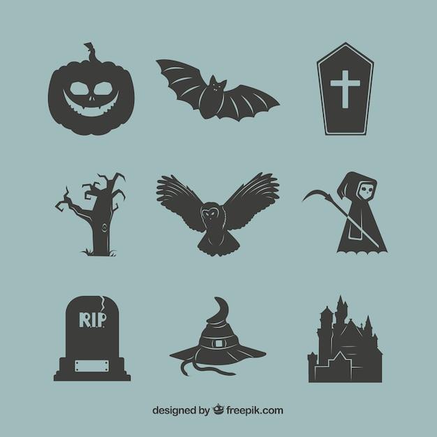 Éléments noir de halloween Vecteur gratuit