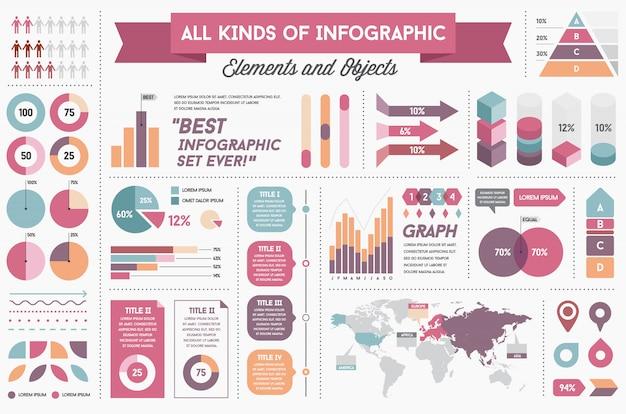 Éléments Et Objets Infographiques Grand Ensemble énorme Vecteur Premium