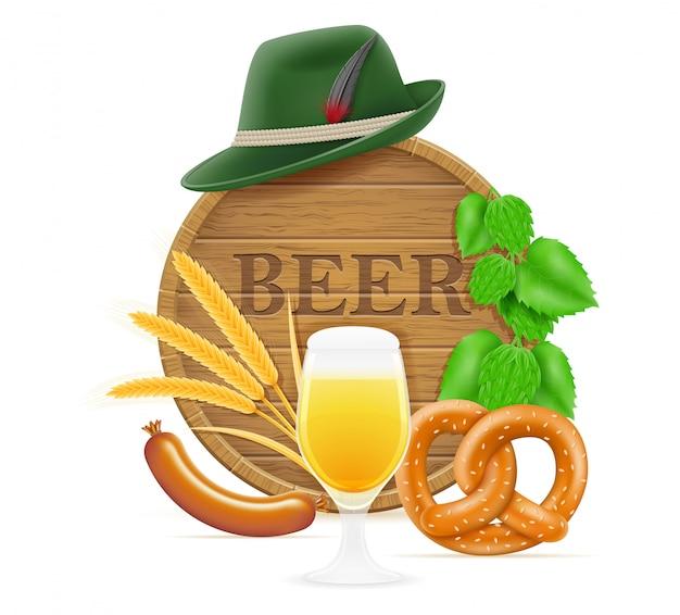 Éléments et objets signifiant fête de la bière oktoberfest Vecteur Premium