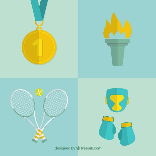 Éléments olympiques fixés dans la conception plate Vecteur gratuit