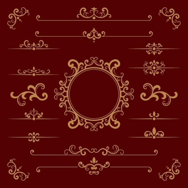Éléments Ornementaux Calligraphiques Dorés Vecteur gratuit