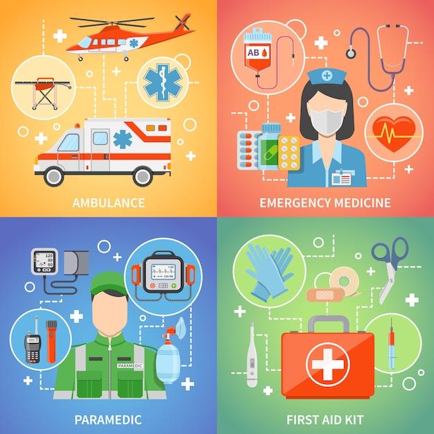 Éléments Paramédicaux Et Personnages Concept De Design Vecteur gratuit