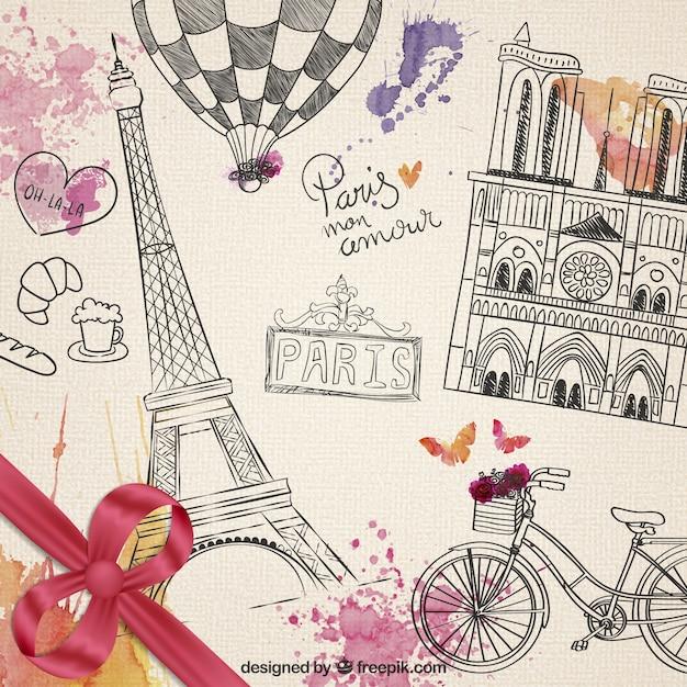 éléments parisiens dessinés à la main Vecteur gratuit