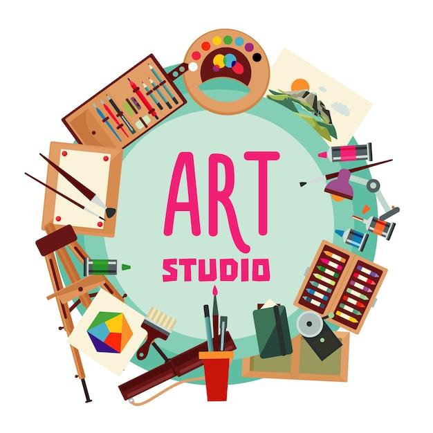 Éléments De Peinture Concept Rond Vecteur gratuit