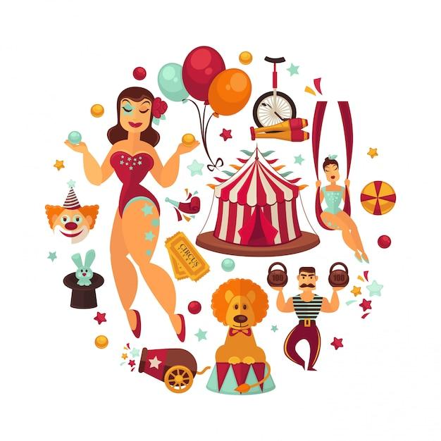 Éléments de performance et accessoires de spectacle de cirque. Vecteur Premium
