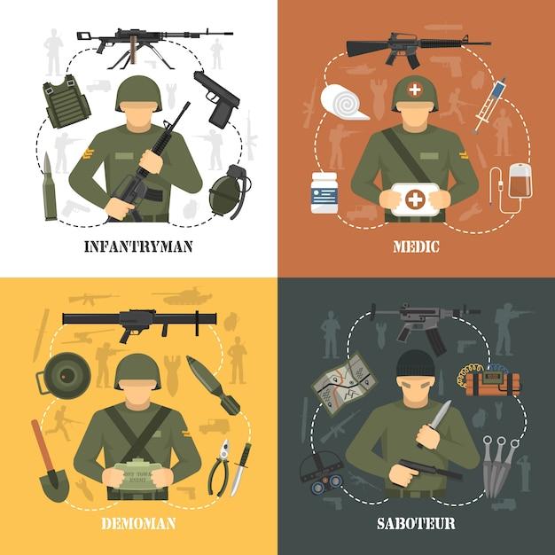 Éléments et personnages de l'armée militaire Vecteur gratuit