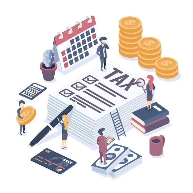 Éléments Et Personnages D'audit D'entreprise Vecteur Premium