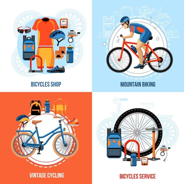 Éléments et personnages de vélo Vecteur Premium