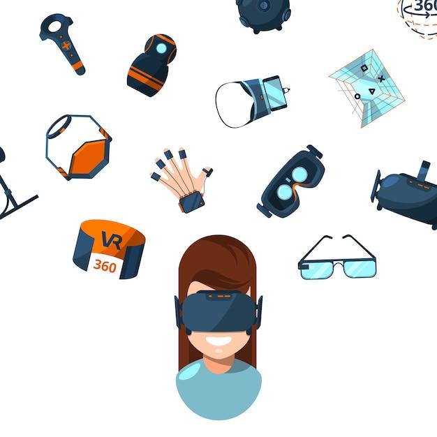 Éléments Et Personne Femme Dans Des Lunettes De Réalité Virtuelle Vecteur Premium