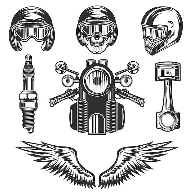 Éléments Et Pièces De Moto Personnalisés Vintage Vecteur Premium