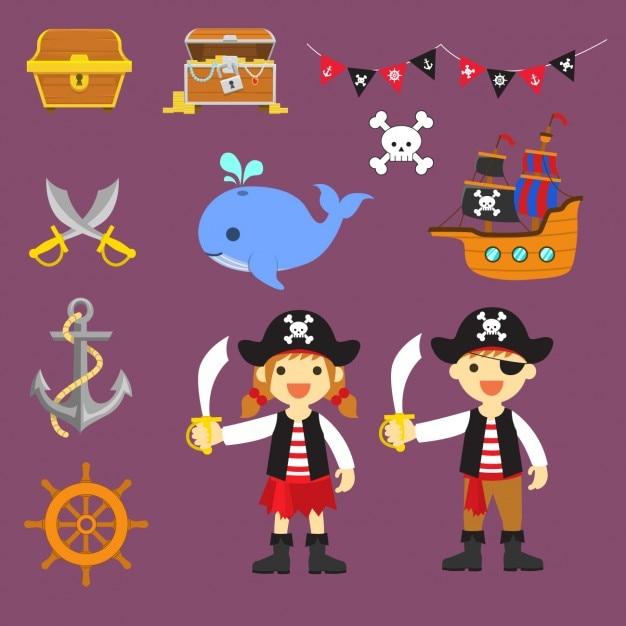 Éléments pirates colorés Vecteur gratuit