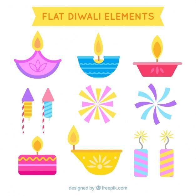 Éléments plat set diwali Vecteur gratuit