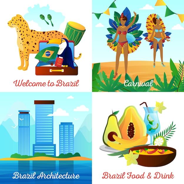 Éléments plats de voyages culturels au brésil et composition carrée de personnages avec des boissons alimentaires points de repère et symboles nationaux isolés illustration vectorielle Vecteur gratuit