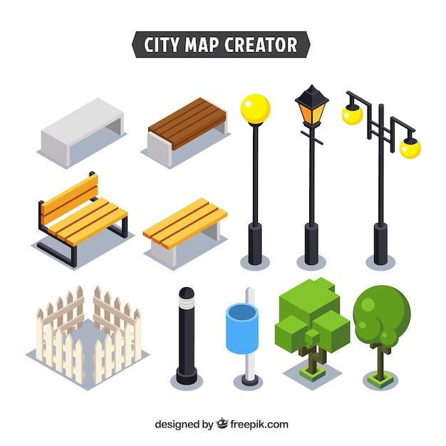 Elements pour créer une ville Vecteur gratuit