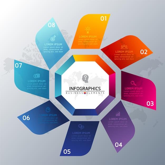 Éléments Pour Infographie. Présentation Et Graphique. étapes Ou Processus. Modèle De Flux De Travail Numéro D'options. Pas. Vecteur Premium