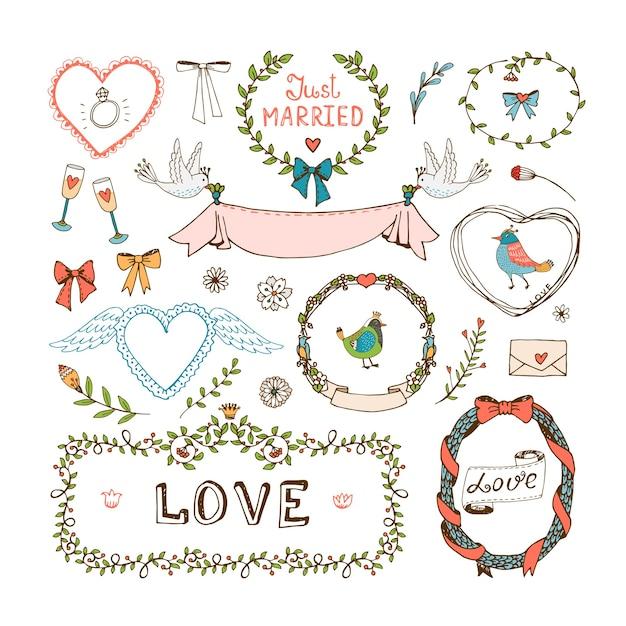 Éléments Pour Les Invitations De Mariage. Cadres, Couronnes, Symboles De Mariage, Amour Et Juste Marié Vecteur gratuit