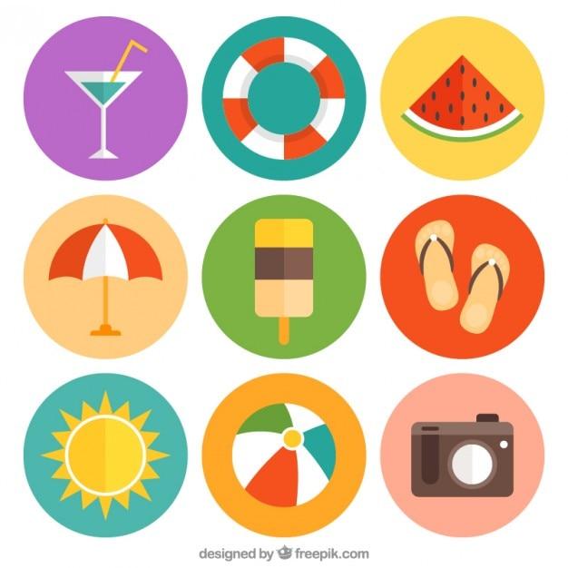 Éléments Pour Les Vacances D'été Vecteur gratuit
