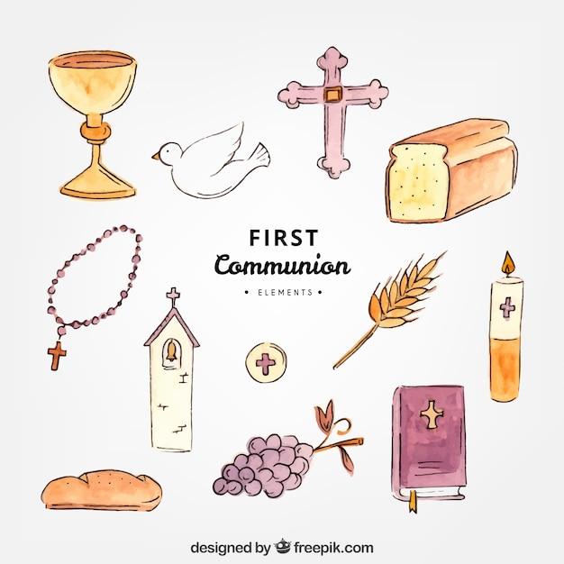 Eléments De La Première Communion Vecteur gratuit