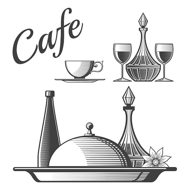 Éléments de restaurant - tasse, verres à vin, plats Vecteur Premium