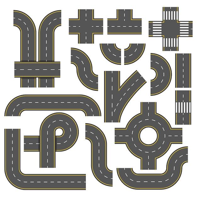 Éléments de la route. collection d'éléments autoroutiers connectables. Vecteur Premium