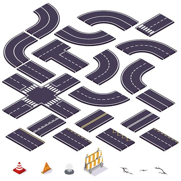 Éléments De Route Isométrique. Illustration Vectorielle. Vecteur Premium