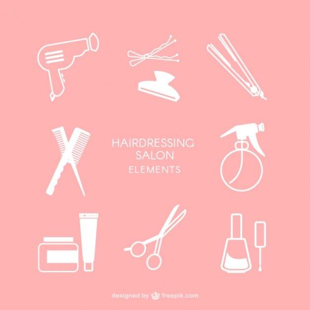 Éléments de salon de coiffure Vecteur gratuit