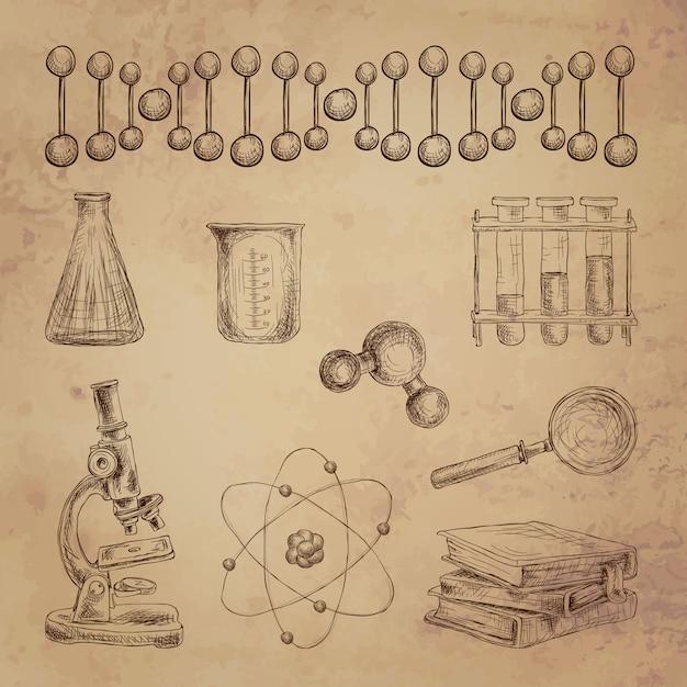 Éléments de science décoratifs doodle sertie d'adn structure équipement de laboratoire isolé illustration vectorielle Vecteur gratuit