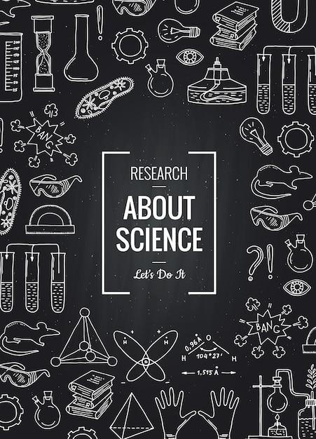Éléments scientifiques ou chimiques esquissés réunis au tableau noir Vecteur Premium