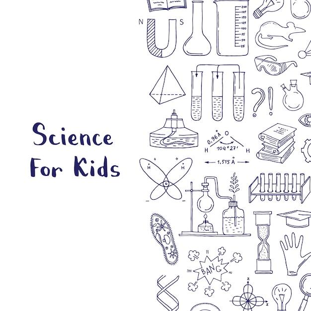Éléments scientifiques ou chimiques esquissés Vecteur Premium