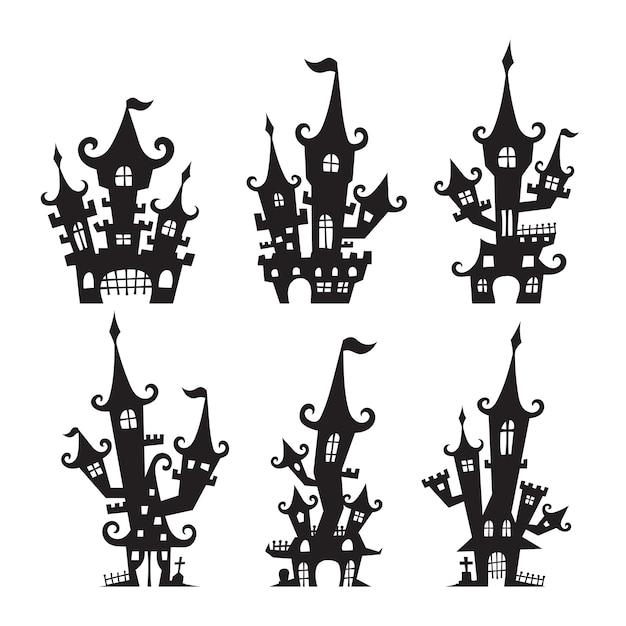 Éléments de silhouette de château hanté pour halloween Vecteur Premium