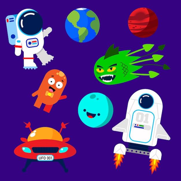 Éléments spatiaux colorés Vecteur Premium