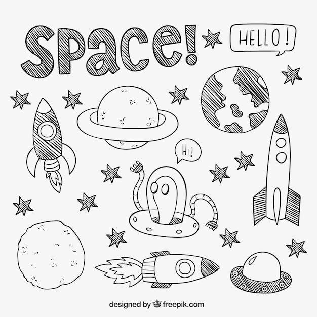 Éléments spatiaux dessinés à la main Vecteur gratuit