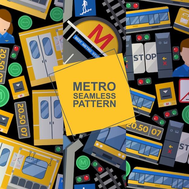 Éléments de la station de métro ensemble de modèles sans soudure Vecteur Premium