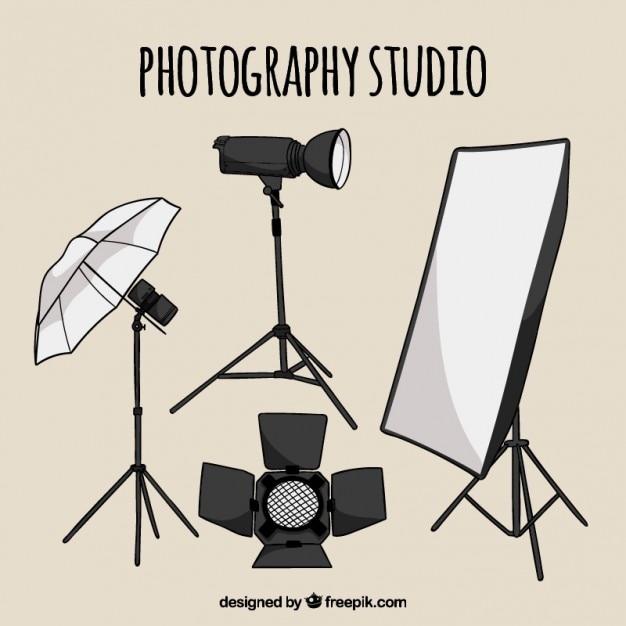 Éléments de studio photo dessinés à la main Vecteur gratuit