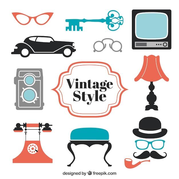 Eléments de style vintage Vecteur gratuit