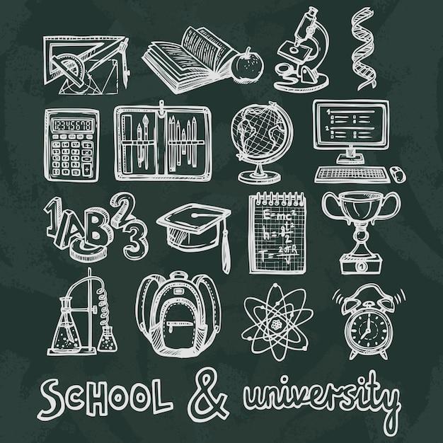 Éléments de tableau de l'éducation scolaire Vecteur gratuit