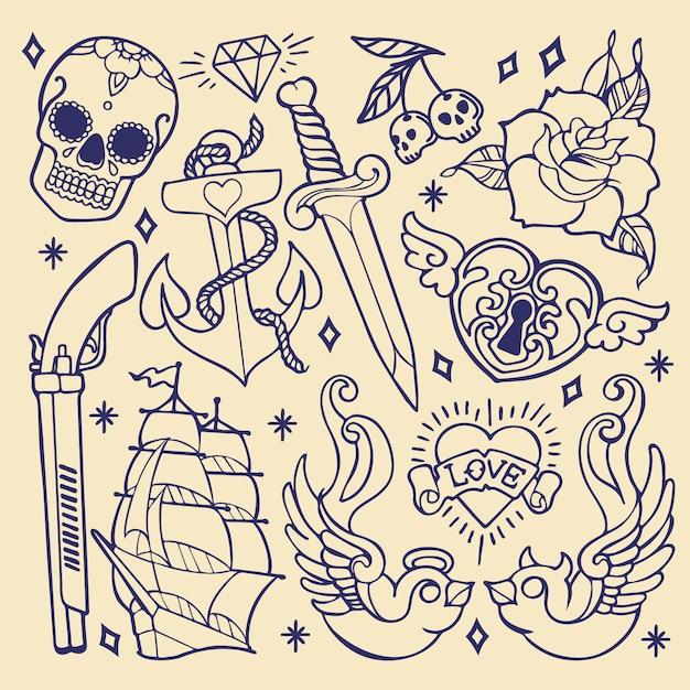 Éléments de tatouage old school Vecteur Premium