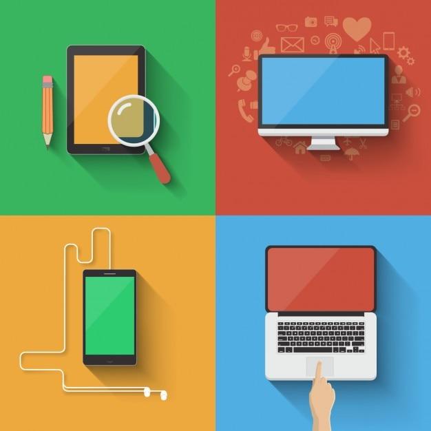 Éléments technologiques de couleur Vecteur gratuit